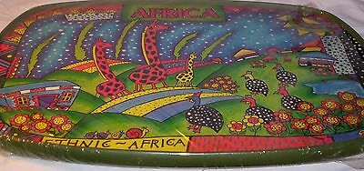 Large African Ethnic Wood Tray Landscape Bold Bright Colors Freestyle Expression