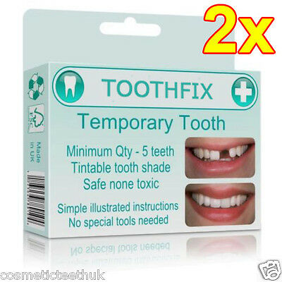 2x MISSING TOOTH FILLER TEMPORARY COSMETIC REPLACEMENT REPAIR DIY TEMP TEETH