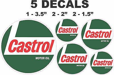 5 Round Castrol Racing Motor Oil Vinyl Decals