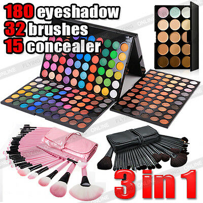 32pcs Makeup Brush Set + 180 Color Eyeshadow Palette + 15 Concealer Kit AU post