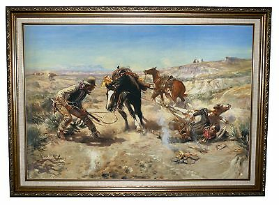 CM Russell The Cinch Ring 1909 -Antique Gold Lined Framed Canvas Print 23x32