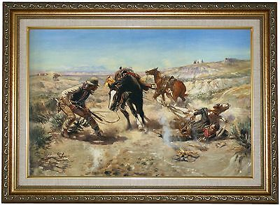 CM Russell The Cinch Ring 1909 -Antique Gold Lined Framed Canvas Print 16x22