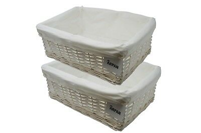 Storage Hamper Basket Large White Wicker With Cloth Lining Pack Of 2 By Arpan