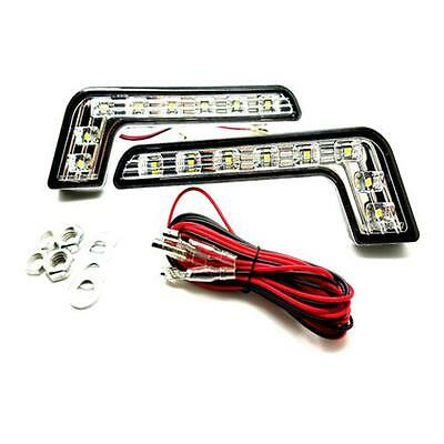1 x Pair 8 LED L Shape DRL Daytime Running Lights 6000k Mercedes Style - Peugeot