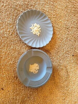 Lot Of Two Wedgwood Blue Fluted Jasper Candy Tray, Ash Tray