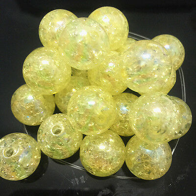10pcs yellow Crackle Glass Round 16mm Beads Jewelry Findings Craft Bead Supply /