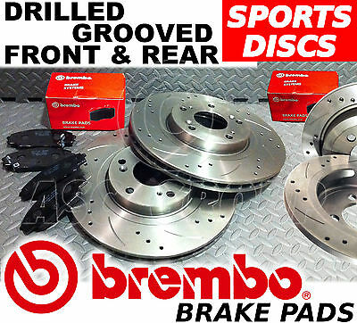 BMW 3 Series E46 330 Drilled & Grooved FRONT & REAR Brake Discs BREMBO Pads