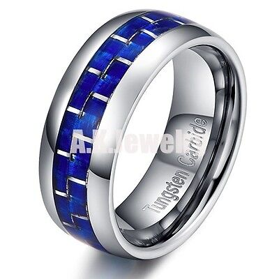 Tungsten Men's White with Blue Carbon Fiber Band Ring Dome Silver Edge Size 9