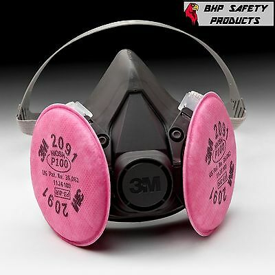 3M 6391 6300 Half Mask Respirator W/ 2091 Filter Pads Dust Particulate Sz Large