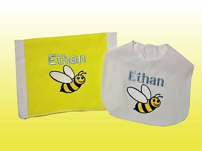 New Handmade Yellow Embroidered Personalized Baby Bumble Bee Bib and Burp Cloth