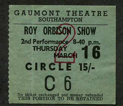 1967 Roy Orbison Small Faces Concert Ticket Stub Southampton UK
