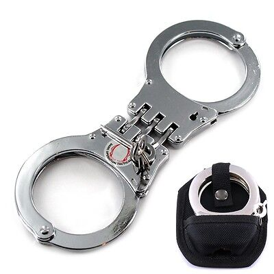 Heavy Duty Steel Hinged Double Lock Handcuffs + Case + 2 Keys Security Police