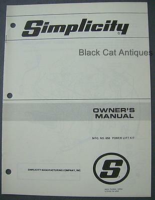 Vintage Simplicity Mfg Co. Power Lift Kit No. 658 Owner's Manual & Part List NOS