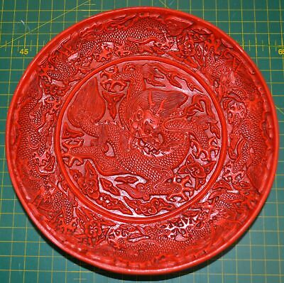 Lovely Vintage RED DRAGON Plate, Unknown Age Estate item, Very Ornate Plate