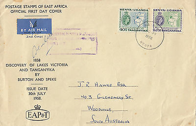 Stamps 1958 KUT QE2 issues on airmail cover with cachet sent to South Australia