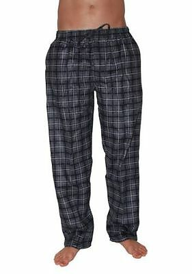 Pyjamas Mens Long Flannel Pjs Pants Grey Cheques Sz S M L XL XXL