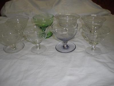 Retro Vintage Sale Etched Bohemia Crystal Sweets Dishes X 8 Czechoslovakia