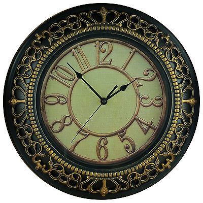 Royal Motif Large 50cm Round Rustic Wall Clock with Embossed Effect