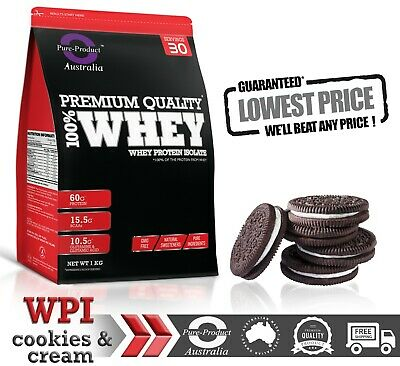 3KG WHEY PROTEIN ISOLATE POWDER  WPI  100% PURE - Cookies and Cream