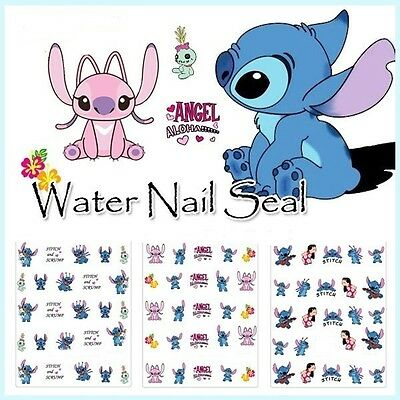 3D Lilo & Stitch Disney Nail Art Wraps Water Transfers Decals Salon Quality