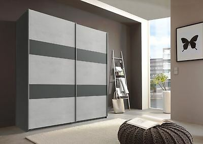 German Chess Concrete Grey & Black 2 Door 180cm Sliding Slider Door Wardrobe