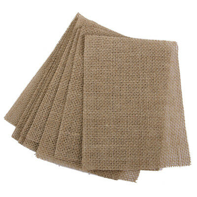 10 Pcs Vintage Coasters Burlap Fabric Pad Dining Table Place Mat Brown