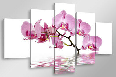 Quadro Moderno 5 pz. ORCHIDS IN THE LAKE cm 150x90 arredamento stampa tela fiori
