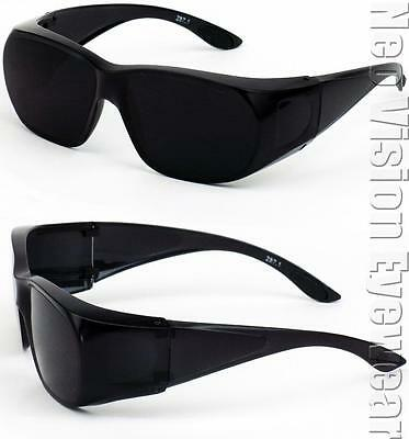 Medium Will Fit Over Most Rx Glasses Sunglasses Safety Black Super Dark Lens 265