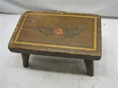 Primitive Tole Painted PA Dutch Floral Wooden Foot Stool Bench Rest Farm