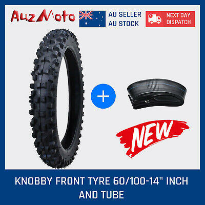 "Knobby Front Tyre 60/100-14"" Inch Dirt Pit Trail Bike Tire + Tube Crf Motorbikes"