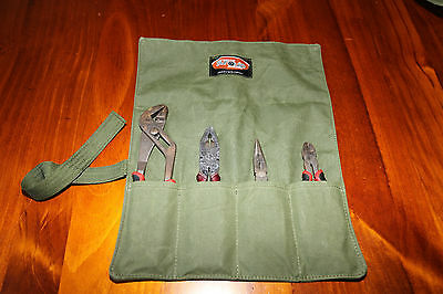 Plier Tool Roll.  4 Pocket.   Australian made with Australian canvas.