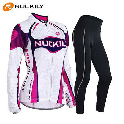 Women's Girls Cycling Clothing Long sleeve Bike jersey&Trouser GEL PAD Sets S-XL