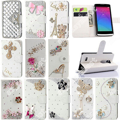 Luxury Flip Bling Shiny Crystal PU Leather Card Wallet Case Stand Cover For LG