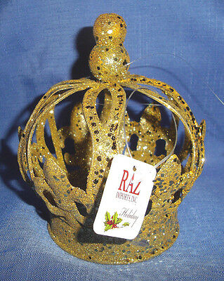 """RAZ Imports 5.5"""" Gold Glittered Metal Crown Christmas Ornament Or Doll's Crown"""