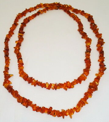 Antique Long Genuine Baltic Egg Yolk Amber Necklace 53 gr. Very Beautiful! 38