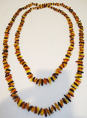 Antique Multicolour Long Genuine Baltic Egg Yolk Amber Necklace. Old! 36gr. 28
