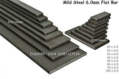 6.0mm Mild Steel FLAT BAR 20,25,30,40,50,60,75,100mm available in 8 lengths