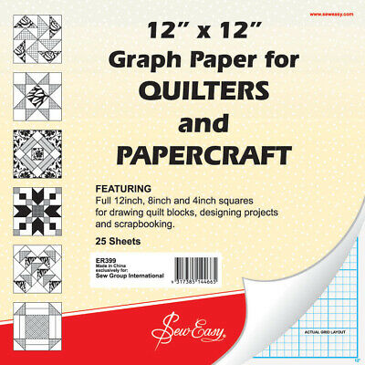"""Sew Easy 12"""" x 12"""" Graph Paper For QUILTERS & PAPERCRAFT, 25 Sheets, 1/4"""" Grid"""
