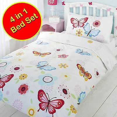 White Junior Toddler Bed 4 In 1 Butterfly Bedding Set (Duvet + Pillow + Covers)