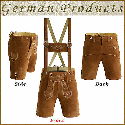 Authentic German Bavarian Oktoberfest Trachten Mens L.B Short Lederhosen Outfit