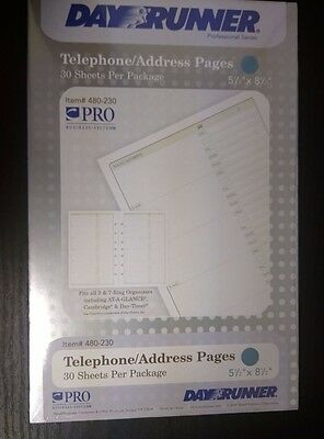 "480-230 Day Runner PRO Telephone/Address Pages. Page Size 5 1/2"" x 8 1/2""."