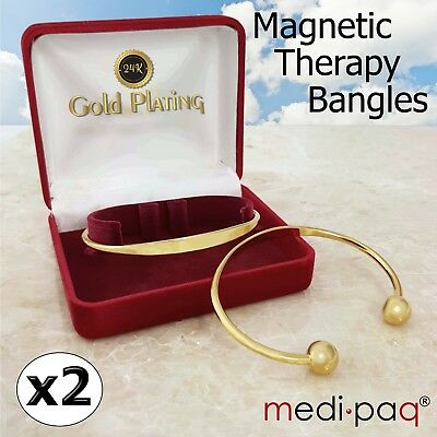 2x Magnetic Arthritis Bangle Health Torque Bracelets 24kt Gold-Plated Pain