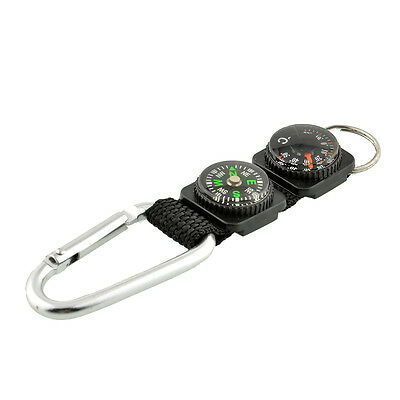 Multifunction Camping w/ Keychain Compass Thermometer Key Ring 3 in 1