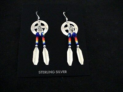 Auth.Native American Indian Navajo Sterling/Beaded Dangle Earrings/Manygoats