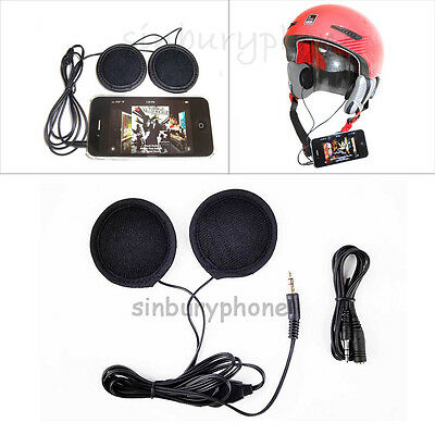 Stereo Motorcycle In-helmet Speaker Headphone Earphone 3.5mm plug Volume Control