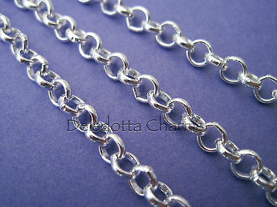 5 METRES SILVER PLATED ROLO CHAIN 5 mm BELCHER WHOLESALE JEWELLERY MAKING (CH)