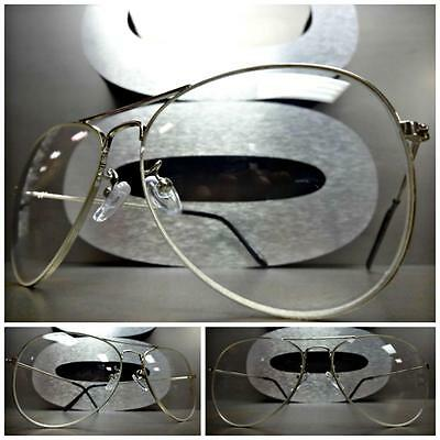 CLASSIC VINTAGE RETRO AVIATOR Style Clear Lens EYE GLASSES Silver Metal Frame