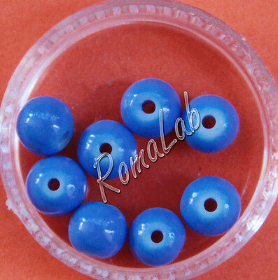 100 PERLE PERLINE IN VETRO CERATO IMITAZIONE GIADA 6 mm COLORATE blu