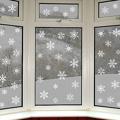 42 Snowflake Window Clings Reusable Stickers Quick Simple Christmas Decorations