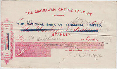MARRAWAH Cheese Factory Stanley Tasmania cheque 1908 with 1d impressed duty